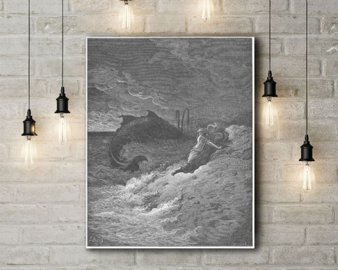 Gustave Dore: Jonah and the Whale. Fine Art Canvas.